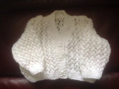 Hand Knitted Cardigan For Newborn Baby.