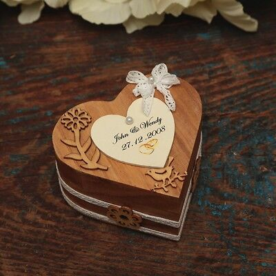 Wedding/giftVintage lace wooden  Personalised Heart Ring Bearer Box