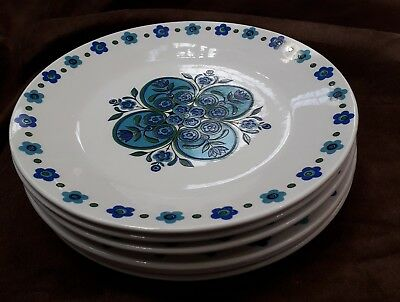 Alfred J G Meakin Six 5  inch Side plates Blue Impact 1970s China Vintage