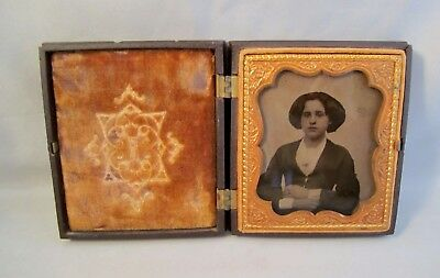 1/6 Ambrotype Photo Identified Woman Union Case Berg 2-19 Two Pears
