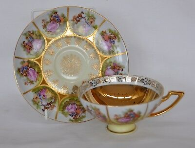 Vintage Hand Painted Fragonard Love Story Cup and Saucer Gold Lined W Germany