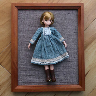 Casual cotton line dress GRN for ruruko Blythe pure neemo body-  handmade #327