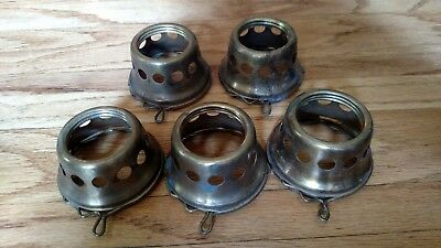 "Lot of 5 VINTAGE SOLID BRASS 2 1/4"" LIGHT FIXTURE SHADE FITTER HOLDER LAMP PART"