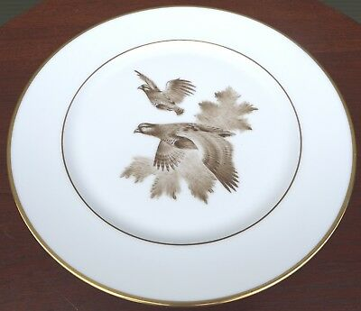 Limoges William Yeoward Hand-Painted 31cm China Plate Sepia Partridge Game Bird