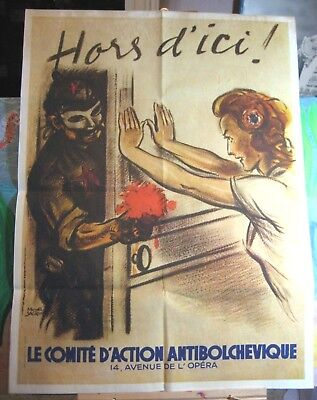 """Out of Here!""   Vintage WW2 Vichy French Anti Communism Poster  24"" by 31"""