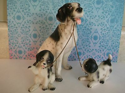 English Springer Spaniel Dog w/puppies~on chain figurines~Japan porcelain~