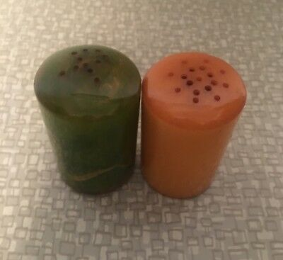 Antique Vintage Bakelite Butterscotch and Green Salt And Pepper Shakers