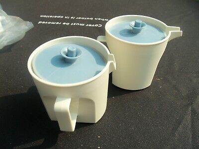Vintage Tupperware Creamer/ Sugar Set with Blue Push Button Lid # 1414/1415