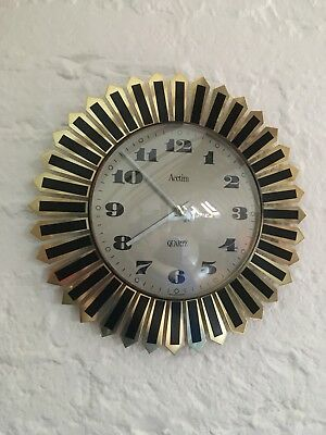 Fab Mid Century Starburst Wall Clock/1950's/60's/70's By Acctim/Metal/Gold/Retro