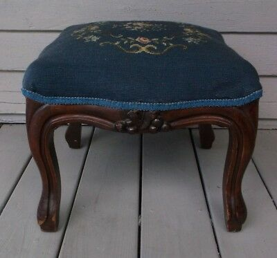 Antique Country French Louis Xv Style Vintage Needlepoint Decorator Footstool