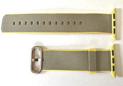 Genuine Apple Watch Band 38MM Grey Yellow Woven Nylon Ltd. Edition Gold Buckle