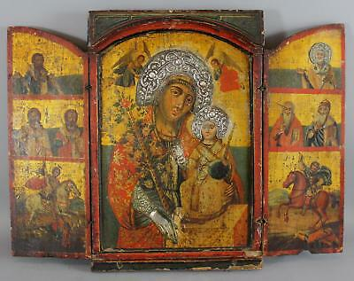 18thC Antique Greek Icon Triptych Painting Silver Accents Mary, Jesus & Saints