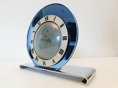 VINTAGE OLD 1930s ANTIQUE WARREN TELECHRON COBALT BLUE MIRROR ART DECO CLOCK