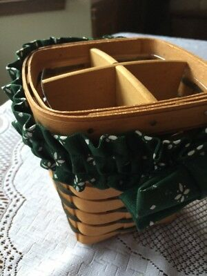 1996 Longaberger Spoon Small Basket Green with Divider ,Garter and protector.
