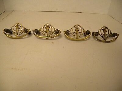 "4-Atq Brass Drawer Pull/Handle, Victorian Style, w/Orig. Screws, 2 1/2"" Centers"