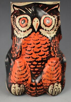Vintage Halloween Noisemaker Owl US Metal Toy MFG CO Made in USA Box #32
