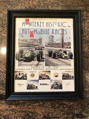Three Vintage Lotus framed racing promotionals Silverstone Monterey Chapman race