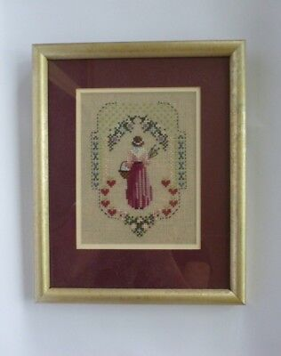 Stitched Artwork Painting Glass Framed Glass Floral Garden Woman Hearts
