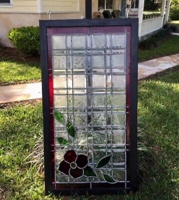 Antique stained and beveled glass window/door insert