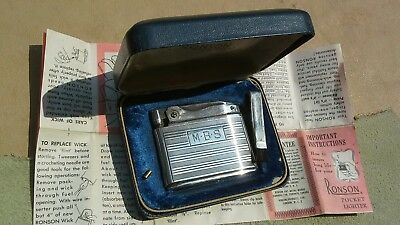 RONSON STERLING Adonis POCKET LIGHTER, w Ser.#, Papers in Spring Top Box~UNFIRED