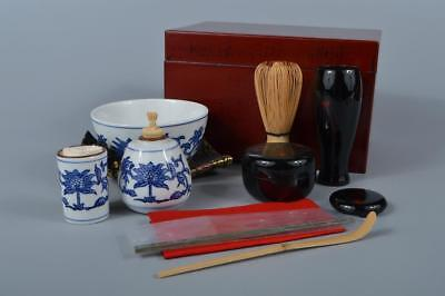 K9848: Japanese Wooden Lacquer ware TEA CEREMONY BOX Bowl Tea caddy Spoon