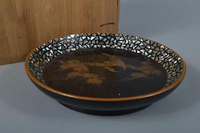 K9024: Japanese Lacquer ware OLD WOODEN TRAY/Ornamental plate w/box