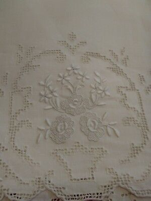 "Beautiful Appenzell Madeira Embroidered  Linen Hand Towel 14"" by 9 1/2"""