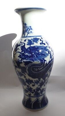 Asian Oriental Blue White Vase Porcelain Ceramic Dragon Large