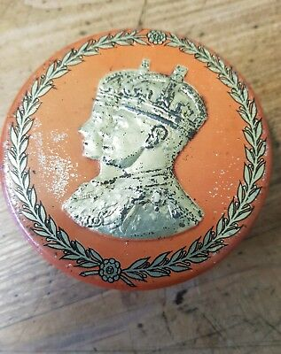 KING GEORGE V 1910 souvenir coronation embossed antique tin