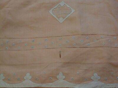 Antique Madeira or Appenzell Embroidered Peach Handkerchief Linen Duvet Cover