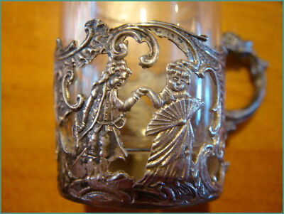 Vintage Antique 800 Sterling Silver Glass Shot? Coffee? Moccha? Cups Tiny x7