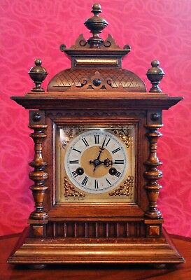 "Antique German ""Junghans"" 8-Day Oak Case Striking Mantel Clock"