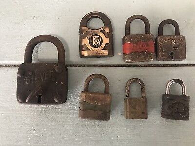 Vintage Padlocks - 6 Lever With Key And Others
