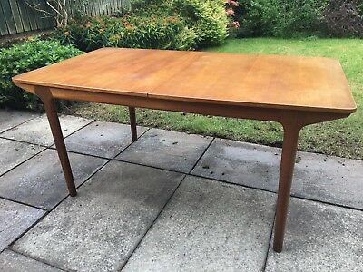 AH McIntosh Extendable Teak Dining Table Mid Century With 3 Chairs.