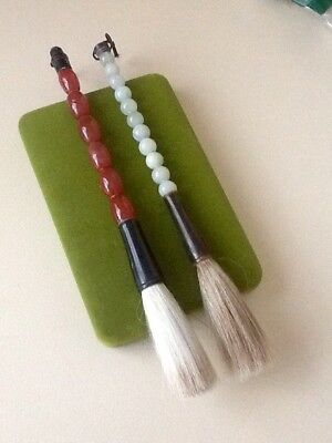 Antique Japanese Carnelian & Jade Handle Paint Brushes x 2 - Estate Lot