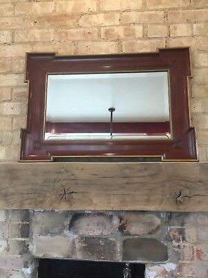 Antique French Bevelled Edge Wall Mirror Wooden Frame Gold Mantle Fireplace