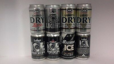 8 Different Dry & Ice Beer Cans from Labatts Brewery in Canada