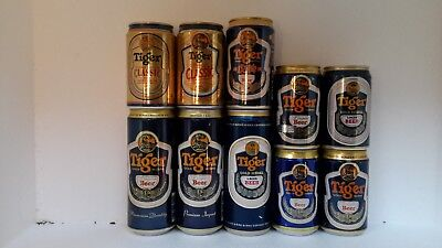 10 Different Tiger Beer Cans from Singapore