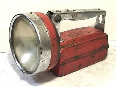 Vintage EVEREADY TORCH Red Metal Flashlight Lantern Made in England Rustic Decor