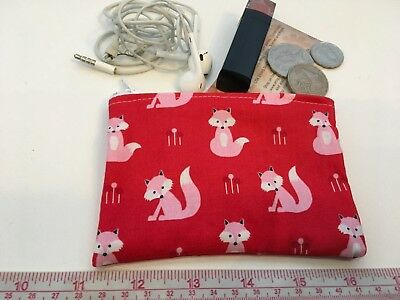 Retro Pink Fox Australia made Coin purse/ Card Holder 12 x 8cm