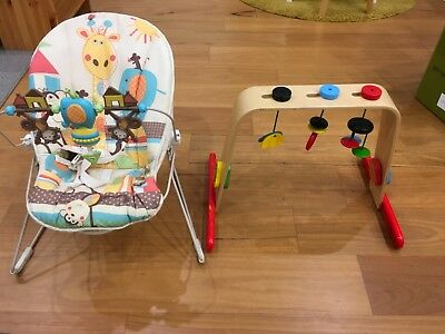 Fisher Price Baby Bouncer with calming vibration action IKEA Wooden Play Gym Set