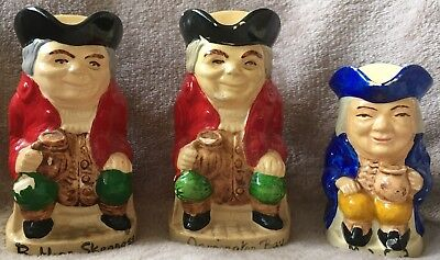 3 Old Small Toby Jugs Souvenirs Butlin's Skegness, Mudeford, Osmington Bay