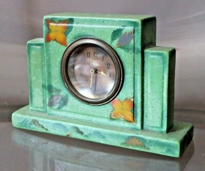 Vintage Green China Deco Mantel Winder Clock England 448 Hand Painted