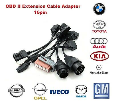 OBD II Extension Cable Adapter 16pin Car Diagnostic For Toyota GM Kia MB Fiat ..