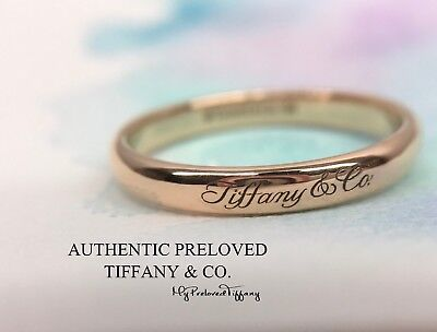cdb34fbe2 Excellent Authentic Tiffany & Co. Notes Ring Logo Rose Gold 750 #8.75 RP$875