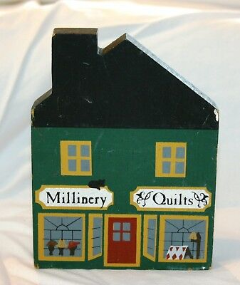 "Cat's Meow ""Millinery/Quilts Shop"" - Wood Shelf Setter - 1984"