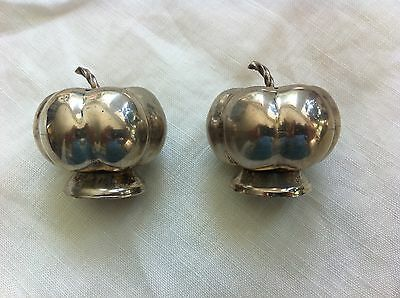 Vintage - Mexican Sterling Figural PUMPKIN Salt & Pepper Shakers