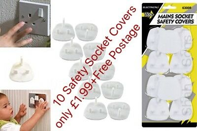 10 X Plug Socket Covers Babies Children's Safety Protector for UK 3 Pin Sockets
