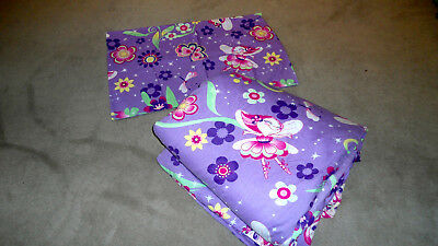 Kids Fairy Single Bed Doona Cover With Pillowcase & Quilt Purple Great Condition