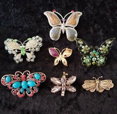 Vintage/modern   Job Lot Of 7 Butterfly Brooches .